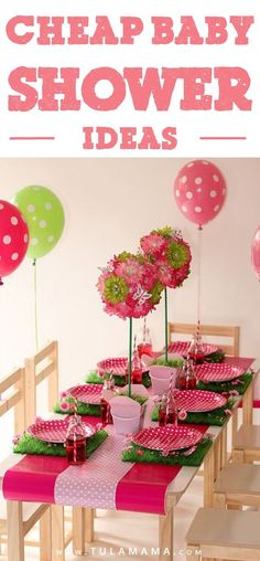 Cheap baby shower ideas for boy and for girls and for neutral showers - that actually look expensive. Get tips for planning a baby shower on a budget, with hacks from Dollar Stores. Find out how to make a DIY decoration for your centerpieces, favors and prizes. Also learn where to find free baby shower games... and more. Pin it. #babyonabudget #babyshower