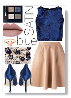"""""""satin blue"""" by ailav9 ❤ liked on Polyvore featuring Alice + Olivia, MSGM, Accessorize, Manolo Blahnik and Tory Burch"""