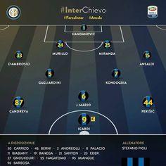 Formation officiel #Inter vs. #Chievo ! On va pouvoir voir à l'œuvre la nouvelle recrue #Gagliardini ! #inter #fcim #forzainter #composition #match #lineup #start