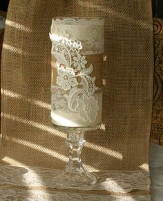 burlap and lace decorations - love the lace on this candle