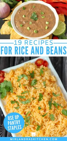 Got rice and beans to use up? You need these recipes! Just because you are making simple meals from your pantry doesn't mean you have to eat bland food! This list of 19 recipes will guide you to a great plan for flavorful and simple dinners with the food supplies you already have. #rice #beans #pantrystaples #easyrecipes Easy Bean Recipes, Beans Recipes, Lentil Recipes, Easy Chicken Recipes, Quick Recipes, Side Dish Recipes, Vegetable Recipes, Delicious Recipes, Healthy Recipes