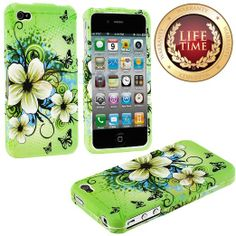 Amazon.com: myLife (TM) Lime Green + White Tropical Flowers Series (2 Piece Snap On) Hardshell Plates Case for the iPhone 4/4S (4G) 4th Gene...