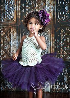 NECKLINE: Pearl Plum tutu set - SEWN tutu set - Deep Plum tutu, ruffle bottom crochet halter top, Large Plum Flower