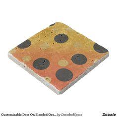 Customizable Dots On Blended OrangeToYellow Stone Beverage Coaster