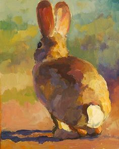 """Back Door Bunny"" by Sarah J. Webber Fine Art Oil ~ 14"" x 11"""
