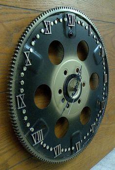 Re-purposed Flywheel Gear Wall Clock Garage by IGBYunique