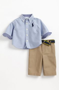 Ralph Lauren Woven Shirt & Pants (Baby Boys)   Nordstrom. Love the cuff detail and the belt