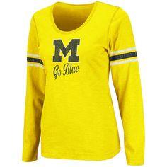 Michigan Wolverines Women's Maize Mako II Slub Long Sleeve Shirt