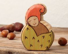 Chestnut Baby Gnome  Wooden Gnome  waldorf toy  fall by Rjabinnik, $8.00
