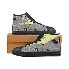 Sneakers, baskets grey black and yellow. Map of Geneva. Kid's Shoes