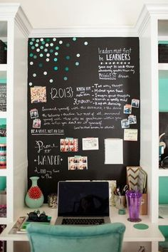 Teen Bedroom with Creative Study Corner with Chalkboard Wall - Cute Teenage Girl Bedroom Ideas: Cool Teen Girl Room Decor Ideas and Designs - See The Best Ways To Decorate A Bedroom For Teen Girls Teenage Girl Bedroom Designs, Teenage Girl Bedrooms, Tween Girls, Bedroom Girls, Bedroom Themes, Bedroom Ideas For Teen Girls Small, Teenage Girl Room Decor, Teen Decor, Kid Bedrooms