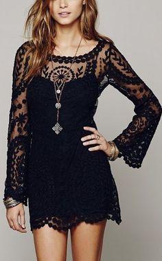 estilo de la calle vestido de encaje negrowachabuy