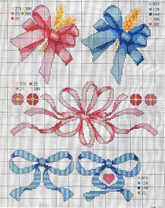 _ponto_cruz: Ties and bows! Cross Stitch For Kids, Cute Cross Stitch, Cross Stitch Borders, Cross Stitch Charts, Cross Stitch Designs, Cross Stitching, Cross Stitch Embroidery, Cross Stitch Patterns, Beading Patterns