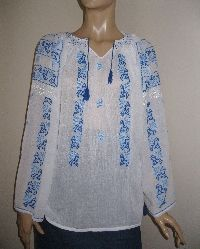 Superb Romanian peasant blouse hand embroidered with both medium and pale blue cotton thread on the finest and sheer gauze