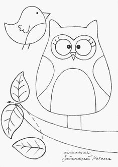 Eule - Owl and bird on branch -- Pattern and Tutorial Owl Templates, Applique Templates, Applique Patterns, Embroidery Applique, Quilt Patterns, Owl Applique, Pillow Patterns, Modern Embroidery, Owl Pillow Pattern