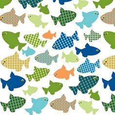 fish-n-fish green, blues, orange fabric by sadiejdesigns on Spoonflower - custom fabric