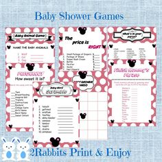 Minnie Mouse Baby Shower Games Package Seven games instant download. Perfect for the Minnie Mouse baby shower theme#minniemousebabyshower #babyshowergames #printabledisneybabyshower