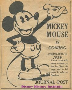 Old newspaper clipping introducing Mickey Mouse