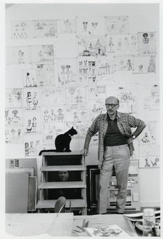 Saul Steinberg and his cat, Papoose. Long Island. 1974