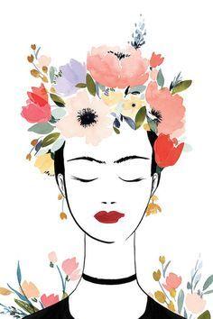 Kahlo Paintings, Art Paintings, Frida Art, Pop Art Wallpaper, Flower Art, Flower Crown Drawing, Crown Flower, Diy Flower, Flower Canvas