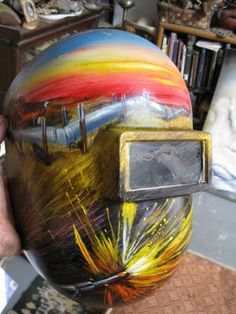welding helmet painted by Marty Katon