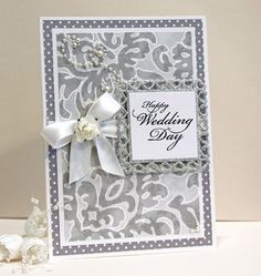 Wedding Card - Handmade Card - Wedding Congratulations Card - Silver, Gray and