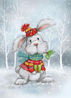 Christmas Drawing, Christmas Paintings, Christmas Art, Vintage Christmas, Christmas Decorations, Christmas Ornaments, Christmas Animals, Christmas Pictures, Canvas Artwork