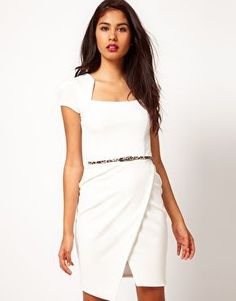Lipsy | Lipsy Cream Belted Ponte Dress at ASOS
