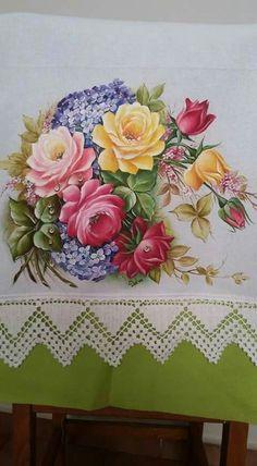 Rosas y hortensias Fabric Paint Designs, One Stroke Painting, China Painting, Fabric Painting, Peonies, Decoupage, Decorative Boxes, Artsy, Clip Art