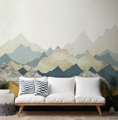 Transform your home with this abstract Distant Peaks wallpaper.With marble and industrial concrete taking over the world of interior design, this texture-effect mountain view will completely bring your home to life. Install this stunning mountain view wallpaper behind your sofa in your living room.  Simply choose any one of your favourite mural designs and select peel and stick wallpaper. Discover more from Wallsauce! #wallpaper #homedecor #abstract #wallmural View Wallpaper, Room Wallpaper, Colorful Wallpaper, Panoramic Photography, What's Your Style, World Of Interiors, Landscape Wallpaper, Peel And Stick Wallpaper, Mountain View