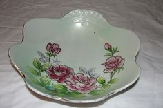 Gold Trimmed ''Shell'' Bowl with Roses