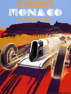 MONACO Car Race Grand Prix 1930 Poster