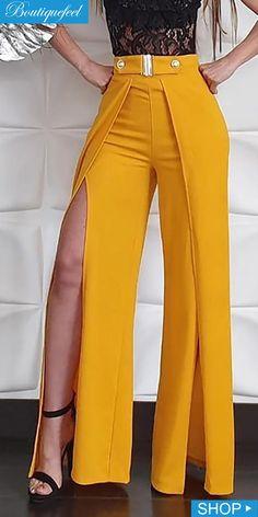 Solid High Waist Slit Leg Pants Source by Trend Fashion, Fashion Pants, Fashion Dresses, Fashion Design, Dope Fashion, Sporty Fashion, Ski Fashion, Winter Fashion, Fashion Spring
