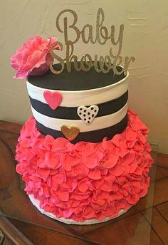 Kate Spade cake: pink, black, white and gold.