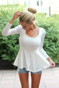 Use tee shirt with long slits cut from hem to under bust 15 More Beautiful Examples Of Girls In Peplum Dresses