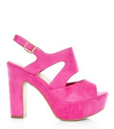 84f41508cc9a Wide Fit Neon Pink Chunky Platform Peep Toe Heels - New Look Peep Toe Heels