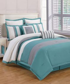 Look what I found on #zulily! Teal & Gray Rochester Online Comforter Set by Duck River Textile #zulilyfinds