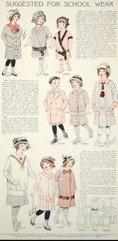 1913 Color Print Edwardian Fashion Illustrations Children School Dress Girl Boy - Baby clothing boy, Baby clothing girl, Gender neutral and baby clothing Belle Epoque, School Dresses, Girls Dresses, Illustration Sketches, Fashion Illustrations, Illustration Children, Trendy Outfits, Kids Outfits, Art Nouveau