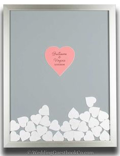This is a unique wedding guestbook idea that is personalized. Choose your frame style, frame color, background color, center colors and shape, drop in colors and shapes. By WeddingGuestbookCo.com wedding guest book