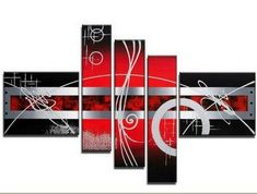 Hand Painted Artwork Red Abstract Art 5 Piece Wall Art Large Oil Painting Modern Art Canvas Art Gallery Wrapped Stretched and Ready to Hang Buy Paintings Online, Canvas Paintings For Sale, Art Paintings, Red Abstract Art, Abstract Art For Sale, Painting Abstract, 5 Panel Wall Art, Canvas Wall Art, Hand Painting Art