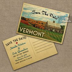 This DIY vintage travel Save The Date postcard features the Vermont countryside in fun mid-century retro style. The matching Wedding