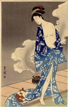 A slight in convenience in the bath.  Utagawa  Toyokuni    (歌川 豊国) (1777-1835)