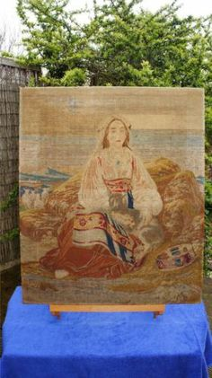 Superb Large Antique Wool Work The Shepherdess Isabella Wade 12 Years 1863 | eBay