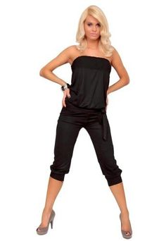 5fed459d9465 Amour Women Casual Strapless Jumpsuit Stretch Clubwear Rompers Capri Pants  BlackLarge   Read more at the image link.