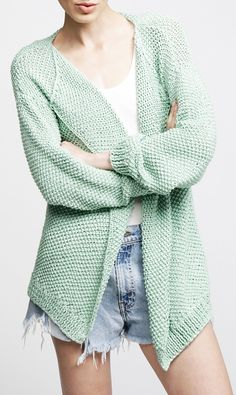Cozy Mint Sweater/ not a knitting pattern, but love the sweater, maybe could improvise to create it.