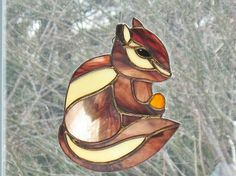 Stained glass chipmunk figurine, outdoor spring garden ornament, home decor, window hanging suncatcher, wildlife glass animal, glass art.