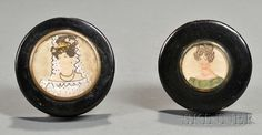 Two Black Lacquer Decorated Snuff Boxes, early 19th century, each cover centered with a watercolor on paper portrait of a young lady.