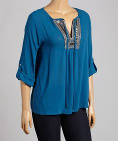 Love this Teal Embellished Notch Neck Top - Plus by Wapi on #zulily! #zulilyfinds