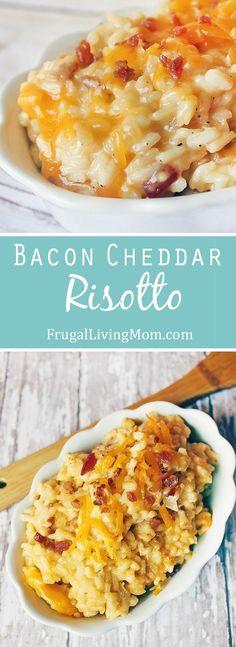 Holy deliciousness, batman! Cheesy Bacon Cheddar Risotto