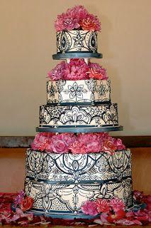 Wedding Cakes Pictures: Elegant Black and Pink Wedding Cakes